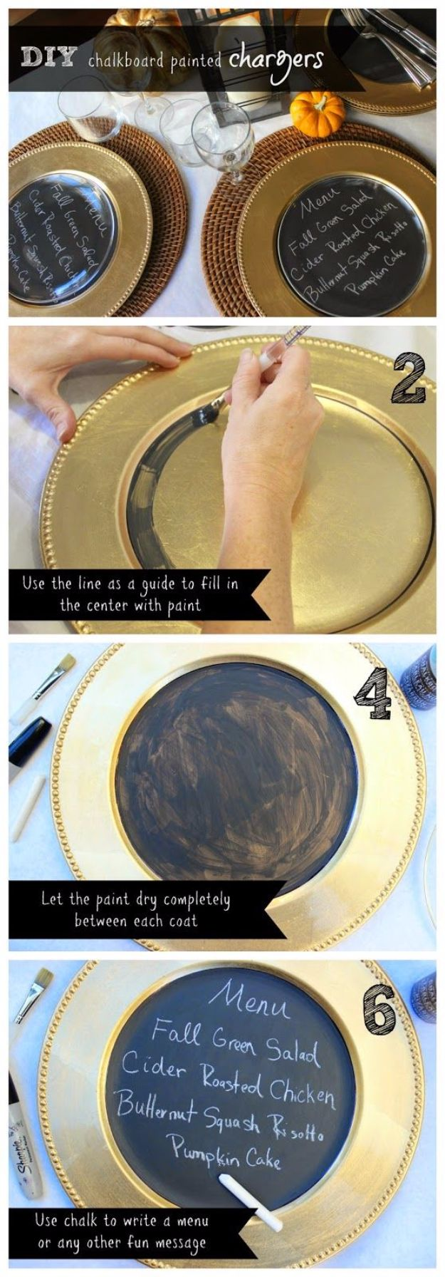 DIY Chalkboard Paint Ideas for Furniture Projects, Home Decor, Kitchen, Bedroom, Signs and Crafts for Teens. |  Chalkboard Painted Chargers  |  http://diyjoy.com/diy-chalkboard-paint-ideas