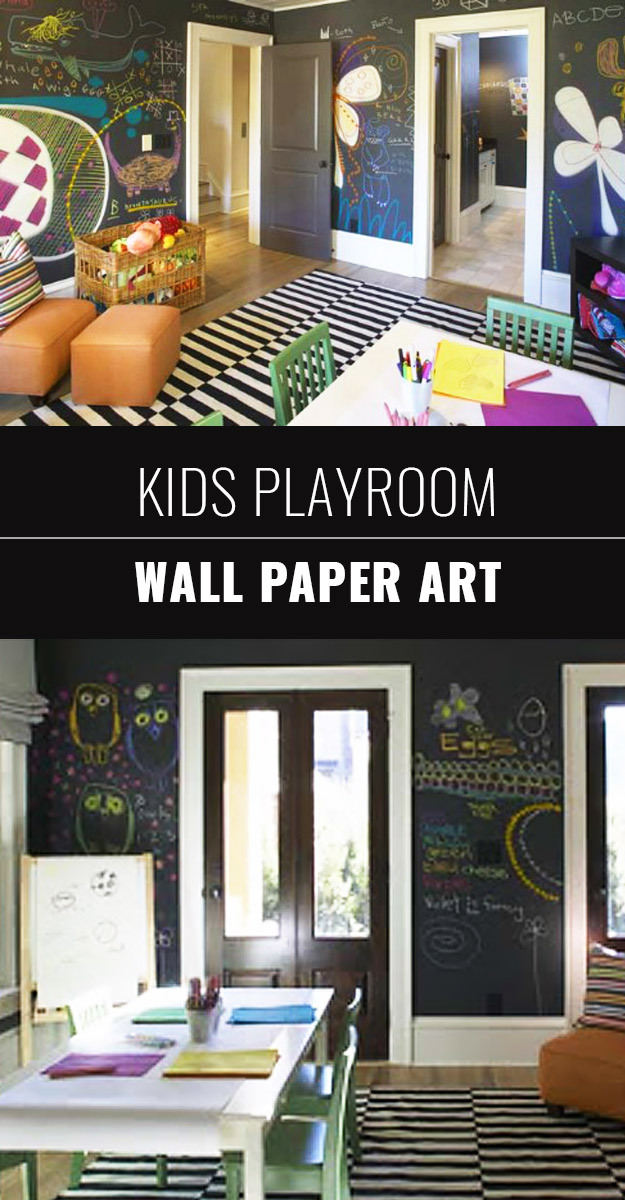 DIY Chalkboard Paint Ideas for Furniture Projects, Home Decor, Kitchen, Bedroom, Signs and Crafts for Teens. | Chalkboard Playroom Wallpaper Art for Kids | http://diyjoy.com/diy-chalkboard-paint-ideas