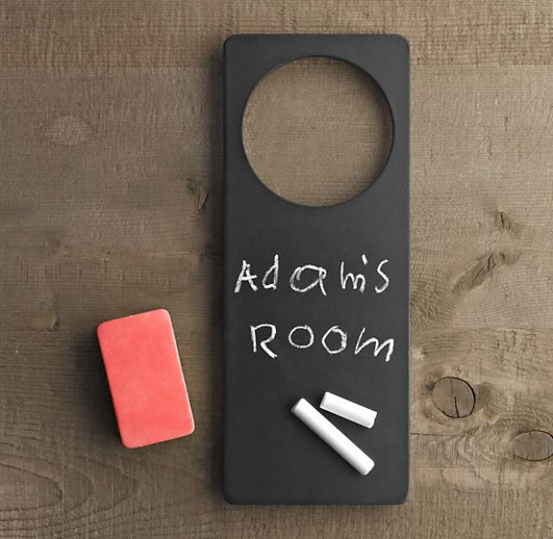 DIY Chalkboard Paint Ideas for Furniture Projects, Home Decor, Kitchen, Bedroom, Signs and Crafts for Teens. | Chalkboard Room Sign | http://diyjoy.com/diy-chalkboard-paint-ideas