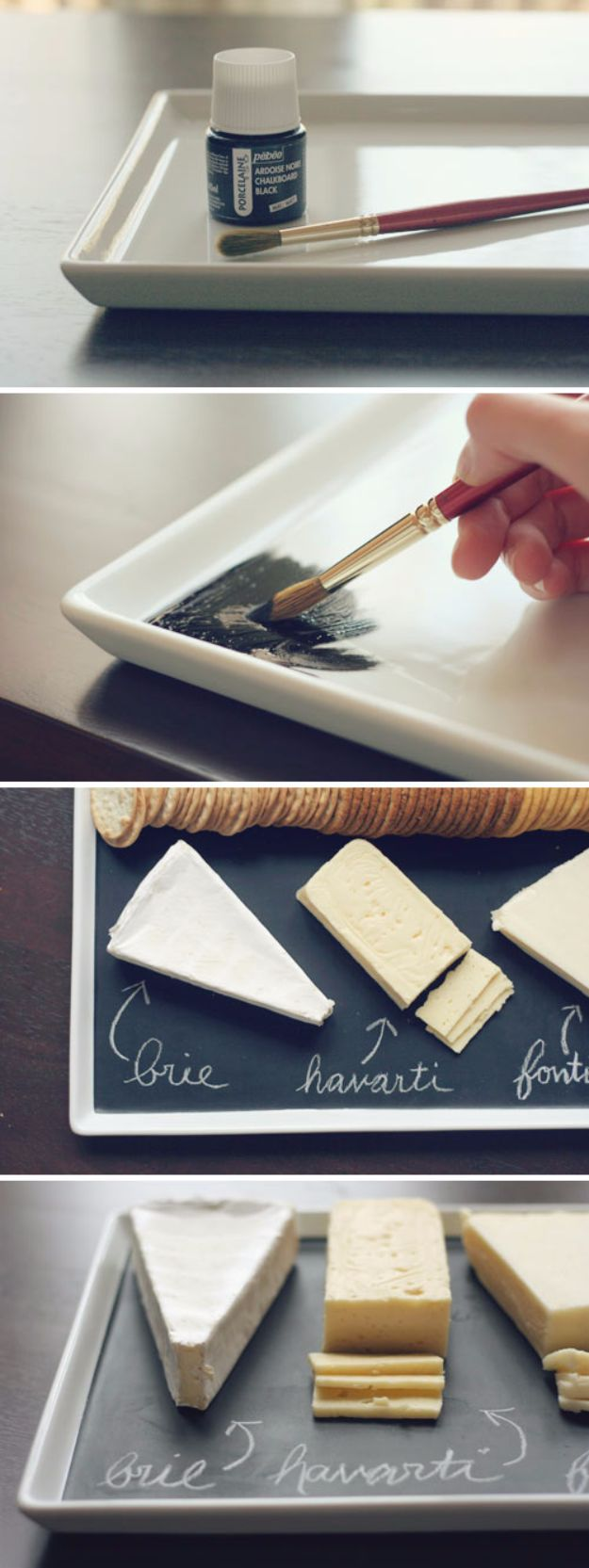 DIY Chalkboard Paint Ideas for Furniture Projects, Home Decor, Kitchen, Bedroom, Signs and Crafts for Teens. | Chalkboard Serving Platter | http://diyjoy.com/diy-chalkboard-paint-ideas