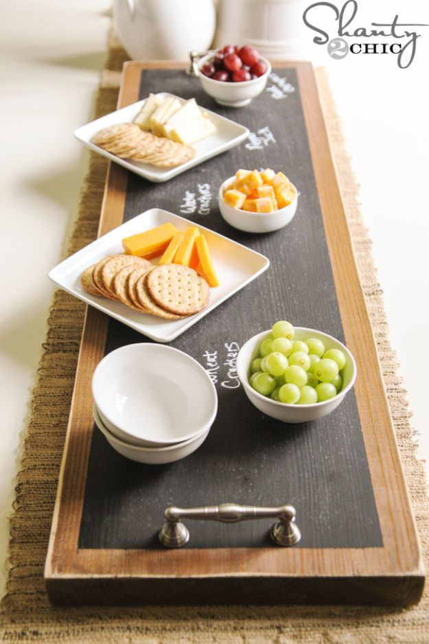 DIY Chalkboard Paint Ideas for Furniture Projects, Home Decor, Kitchen, Bedroom, Signs and Crafts for Teens.   Chalkboard Serving Tray   http://diyjoy.com/diy-chalkboard-paint-ideas
