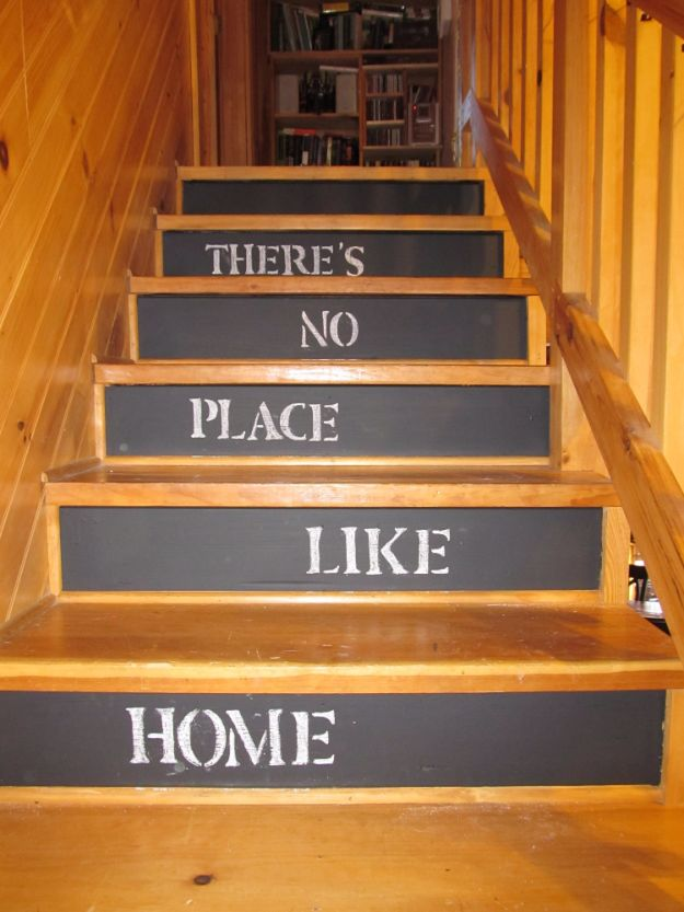 DIY Chalkboard Paint Ideas for Furniture Projects, Home Decor, Kitchen, Bedroom, Signs and Crafts for Teens. | Chalkboard Stairs | http://diyjoy.com/diy-chalkboard-paint-ideas