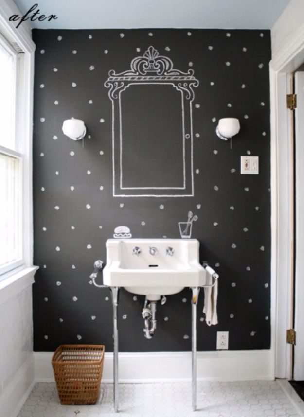 DIY Chalkboard Paint Ideas for Furniture Projects, Home Decor, Kitchen, Bedroom, Signs and Crafts for Teens. | Chalkboard Wallpaper Art | http://diyjoy.com/diy-chalkboard-paint-ideas