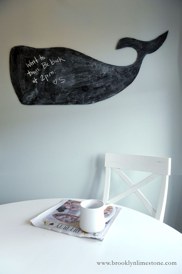 DIY Chalkboard Paint Ideas for Furniture Projects, Home Decor, Kitchen, Bedroom, Signs and Crafts for Teens. | Chalkboard Whale Wall Decor