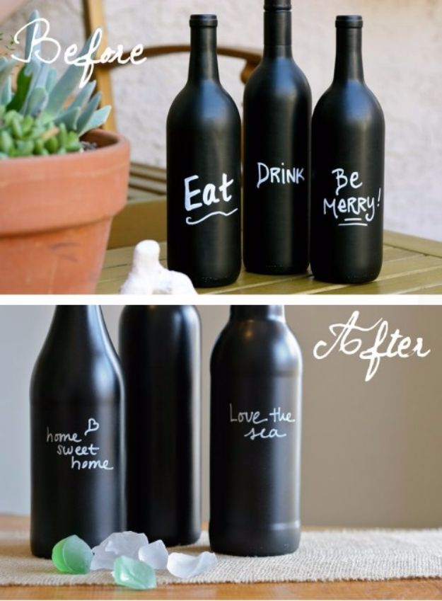 DIY Chalkboard Paint Ideas for Furniture Projects, Home Decor, Kitchen, Bedroom, Signs and Crafts for Teens. | Chalkboard Wine Bottle Decors