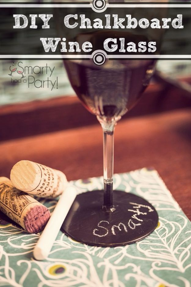 DIY Chalkboard Paint Ideas for Furniture Projects, Home Decor, Kitchen, Bedroom, Signs and Crafts for Teens. | Chalkboard Wine Glass | http://diyjoy.com/diy-chalkboard-paint-ideas