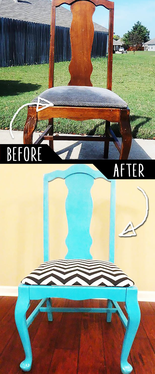 DIY Furniture Makeovers - Refurbished Furniture and Cool Painted Furniture Ideas for Thrift Store Furniture Makeover Projects   Coffee Tables, Dressers and Bedroom Decor, Kitchen   Classic Meets Chevron #diy #furnituremakeover #diyfurniture