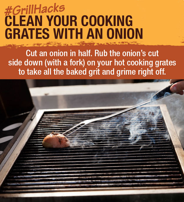 Coolest Cooking Hacks, Tips and Tricks for Easy Meal Prep, Recipe Shortcuts and Quick Ideas for Food | Clean your Grill with an Onion | http://cooking-tips-diy-kitchen-hacks