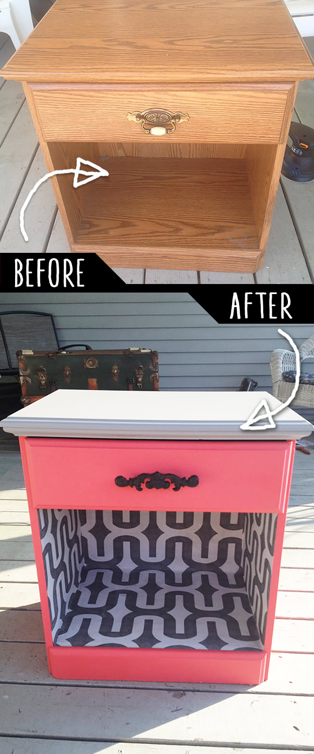 DIY Furniture Makeovers - Refurbished Furniture and Cool Painted Furniture Ideas for Thrift Store Furniture Makeover Projects | Coffee Tables, Dressers and Bedroom Decor, Kitchen | Color and Wallpaper Night Desk Revamp #diy #furnituremakeover #diyfurniture