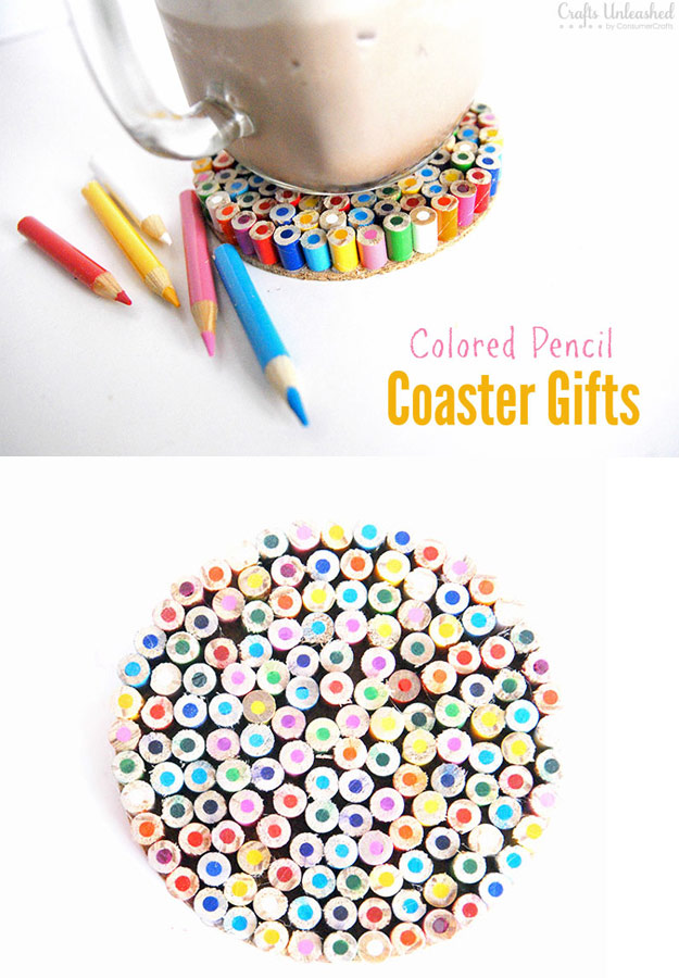 76 Crafts To Make and Sell - Easy DIY Ideas for Cheap Things To Sell on Etsy, Online and for Craft Fairs. Make Money with These Homemade Crafts for Teens, Kids, Christmas, Summer, Mother's Day Gifts. | Colored Pencil Coasters #crafts #diy