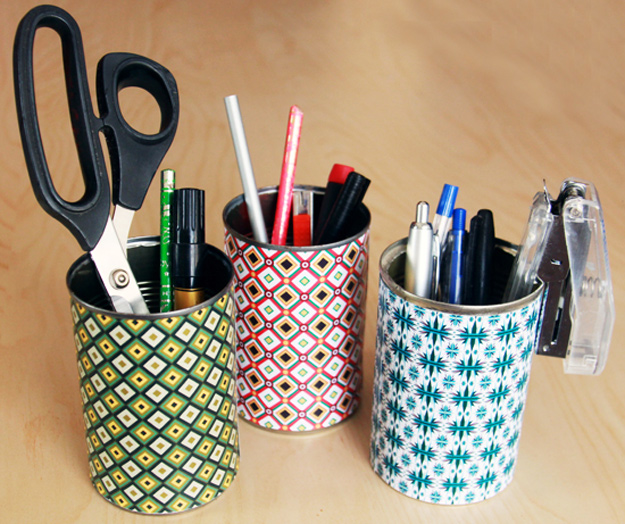 DIY Craft Room Ideas and Craft Room Organization Projects - Colorful Tin Can Organizer - Cool Ideas for Do It Yourself Craft Storage - fabric, paper, pens, creative tools, crafts supplies and sewing notions | http://diyjoy.com/craft-room-organization
