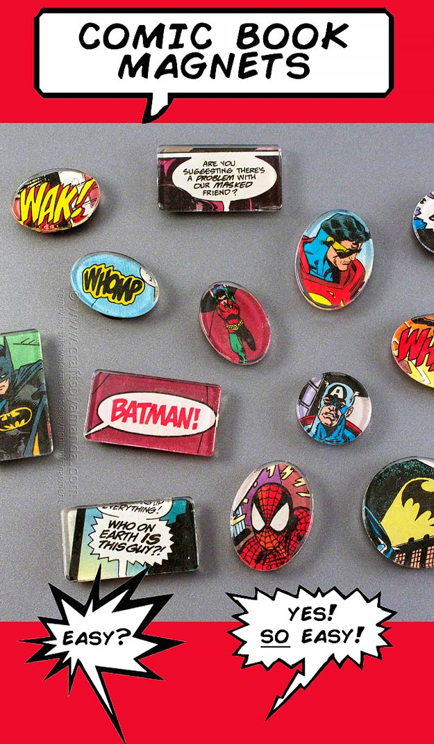 76 Crafts To Make and Sell - Easy DIY Ideas for Cheap Things To Sell on Etsy, Online and for Craft Fairs. Make Money with These Homemade Crafts for Teens, Kids, Christmas, Summer, Mother's Day Gifts.   Comic Book Magnets #crafts #diy