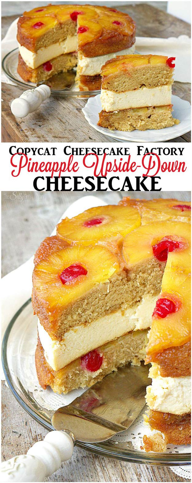 Copycat Recipes From Top Restaurants. Best Recipe Knockoffs from Chipotle, Starbucks, Olive Garden, Cinabbon, Cracker Barrel, Taco Bell, Cheesecake Factory, KFC, Mc Donalds, Red Lobster, Panda Express | Copycat Cheesecake Factory Pineapple Upside-Down Cheesecake | #recipes #copycatrecipes