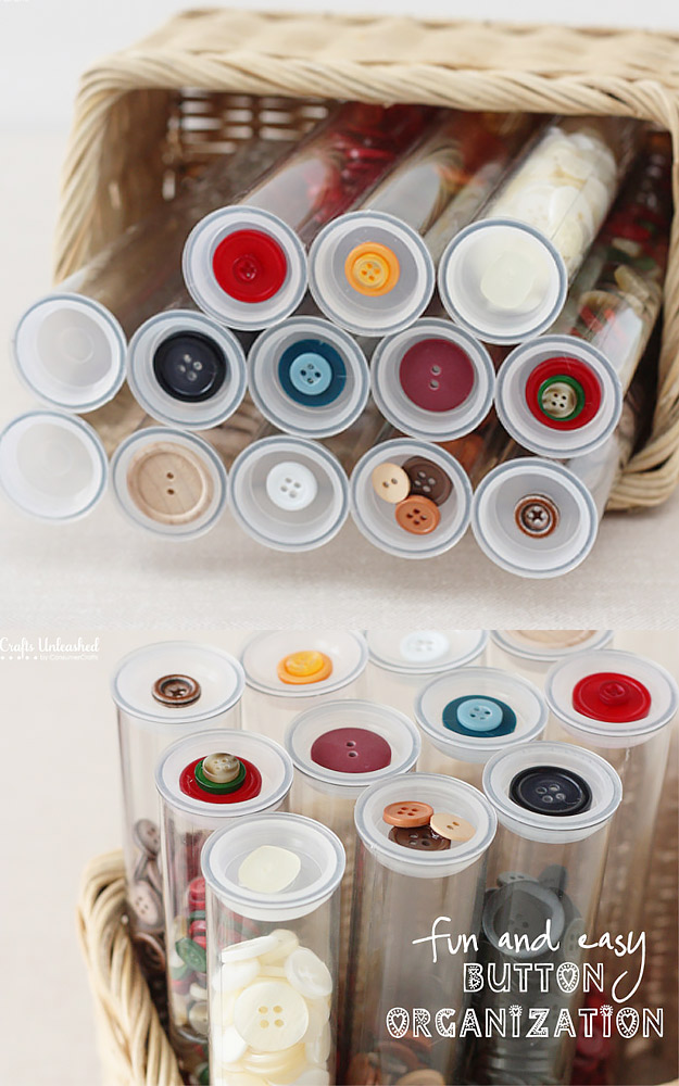 DIY Craft Room Ideas and Craft Room Organization Projects - Craft Button Plastic Tube Organizer - Cool Ideas for Do It Yourself Craft Storage - fabric, paper, pens, creative tools, crafts supplies and sewing notions