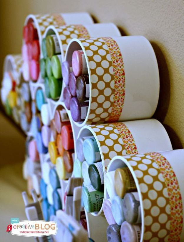 DIY Craft Room Ideas and Craft Room Organization Projects - Craft Paint Storage - Cool Ideas for Do It Yourself Craft Storage - fabric, paper, pens, creative tools, crafts supplies and sewing notions