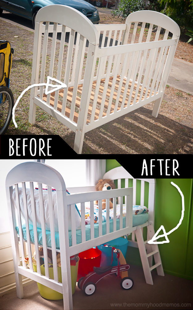 DIY Furniture Hacks | Crib into Toddler Loft Bed | Cool Ideas for Creative Do It Yourself Furniture Made From Things You Might Not Expect - http://diyjoy.com/diy-furniture-hacks