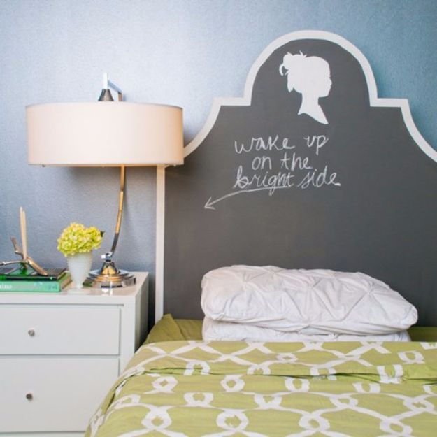 DIY Chalkboard Paint Ideas for Furniture Projects, Home Decor, Kitchen, Bedroom, Signs and Crafts for Teens. | Custom Chalkboard Headboard | http://diyjoy.com/diy-chalkboard-paint-ideas