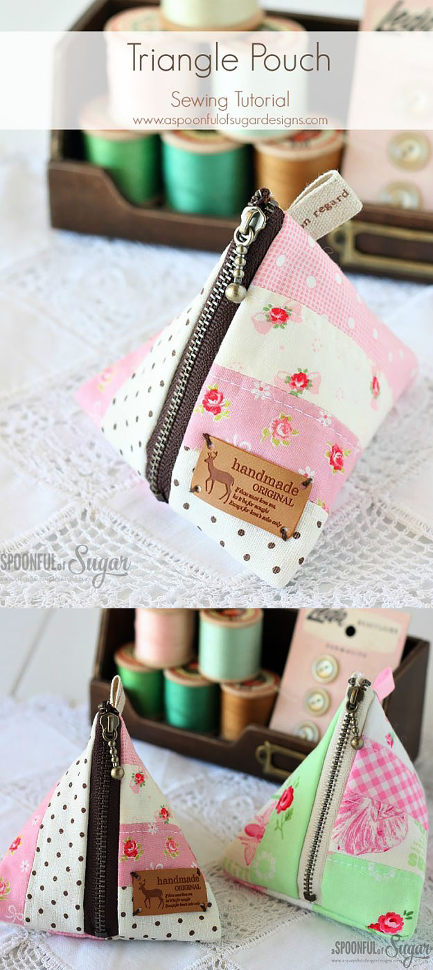 DIY Projects To Make and Sell -Most Profitable Crafts to Sell for Money - Easy DIY Ideas for Cheap Things To Sell on Etsy, Online and for Craft Fairs. Make Money with These Homemade Crafts Make Christmas Gifts. | Cute Triangle Pouch #crafts #diy