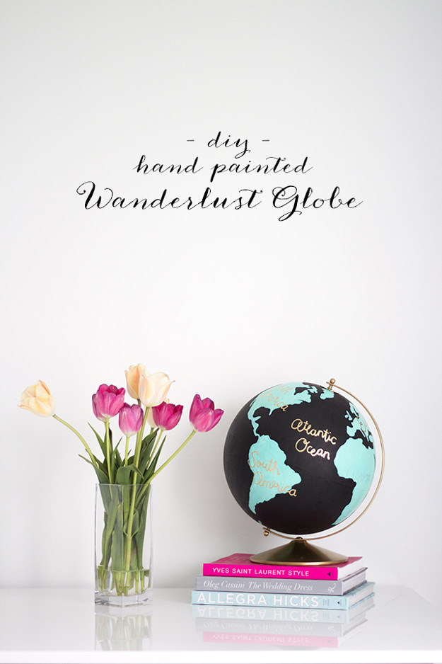 DIY Furniture Store KnockOffs - Do It Yourself Furniture Projects Inspired by Pottery Barn, Restoration Hardware, West Elm. Tutorials and Step by Step Instructions   DIY Anthropologie Wanderlust Globe #diyfurniture #diyhomedecor #copycats