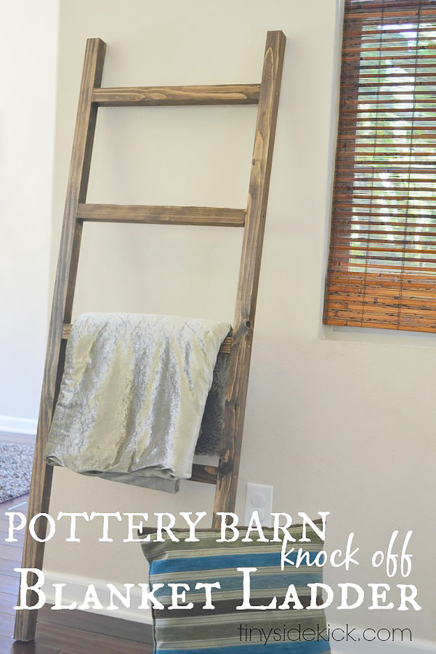 DIY Furniture Store KnockOffs - Do It Yourself Furniture Projects Inspired by Pottery Barn, Restoration Hardware, West Elm. Tutorials and Step by Step Instructions   DIY Blanket Ladder Pottery Barn Knock Off #diyfurniture #diyhomedecor #copycats