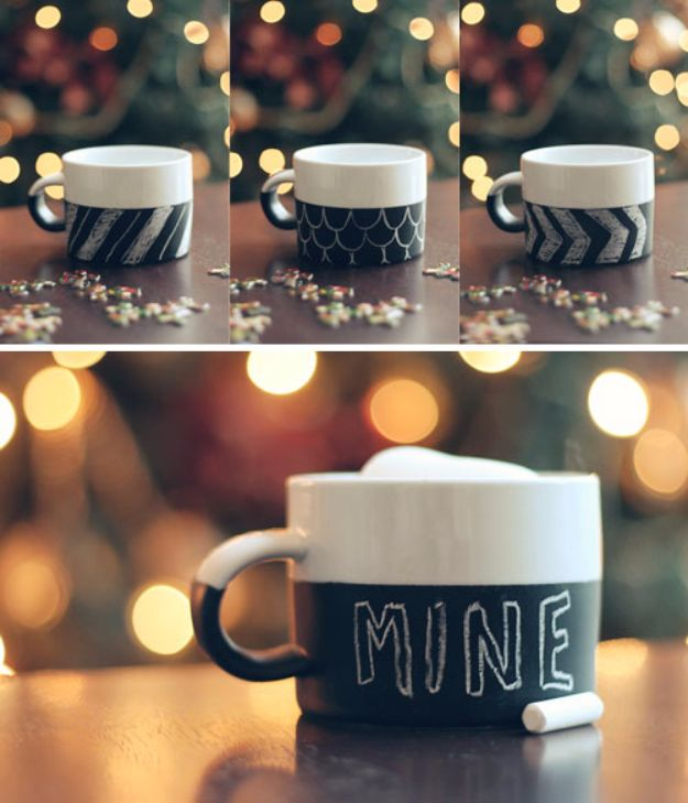 DIY Chalkboard Paint Ideas for Furniture Projects, Home Decor, Kitchen, Bedroom, Signs and Crafts for Teens. | DIY Chalkboard Mugs | http://diyjoy.com/diy-chalkboard-paint-ideas