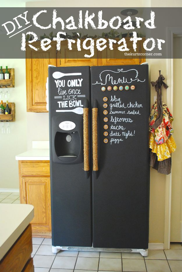 DIY Chalkboard Paint Ideas for Furniture Projects, Home Decor, Kitchen, Bedroom, Signs and Crafts for Teens. | DIY Chalkboard Refrigerator