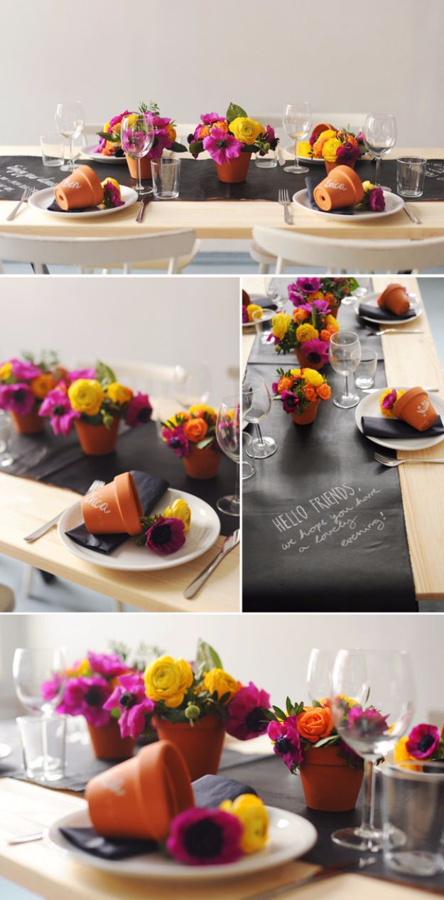 DIY Chalkboard Paint Ideas for Furniture Projects, Home Decor, Kitchen, Bedroom, Signs and Crafts for Teens. | DIY Chalkboard Table Setting