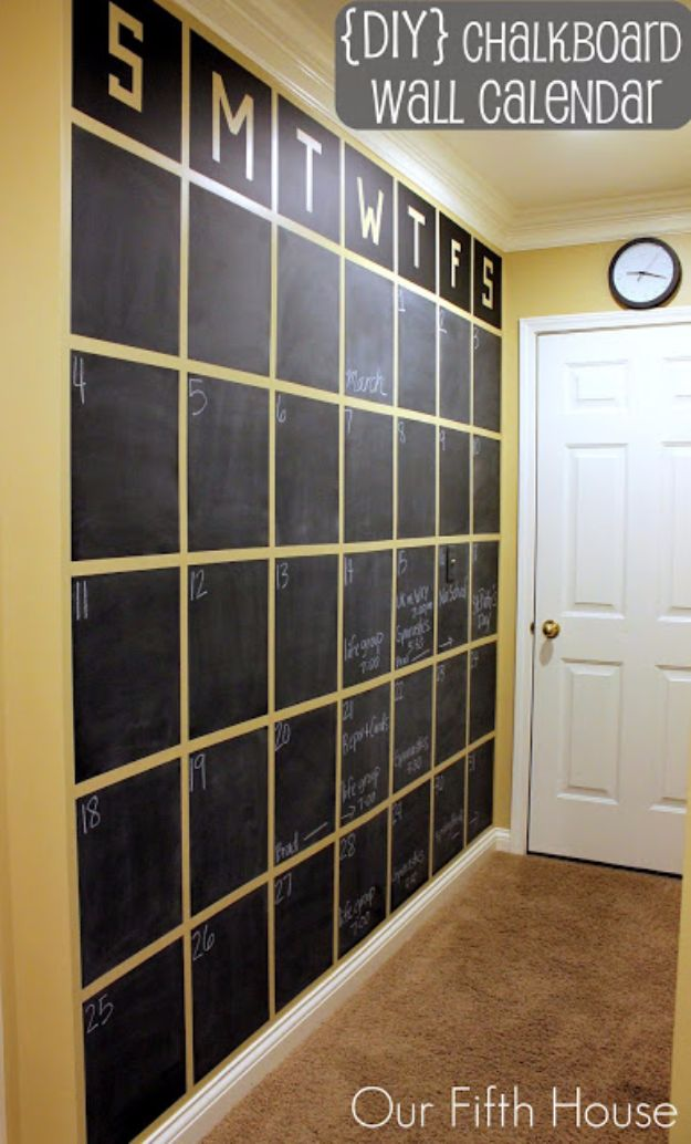 DIY Chalkboard Paint Ideas for Furniture Projects, Home Decor, Kitchen, Bedroom, Signs and Crafts for Teens. | DIY Chalkboard Wall Calendar | http://diyjoy.com/diy-chalkboard-paint-ideas