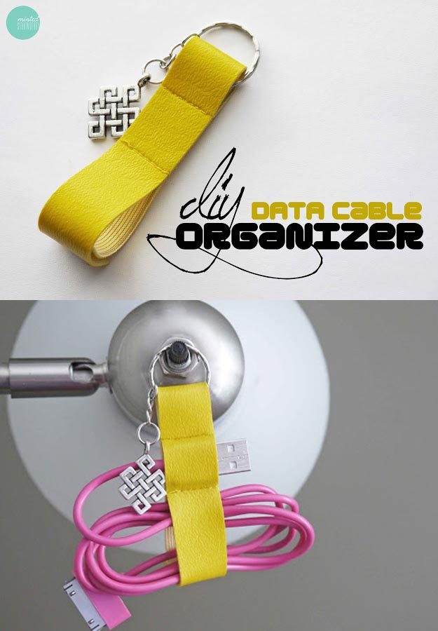 76 Crafts To Make and Sell - Easy DIY Ideas for Cheap Things To Sell on Etsy, Online and for Craft Fairs. Make Money with These Homemade Crafts for Teens, Kids, Christmas, Summer, Mother's Day Gifts. | DIY Data Cable Organizer Key Chain #crafts #diy