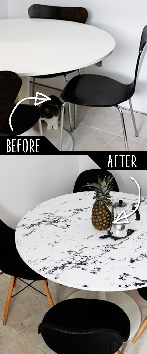 DIY Furniture Makeovers - Refurbished Furniture and Cool Painted Furniture Ideas for Thrift Store Furniture Makeover Projects | Coffee Tables, Dressers and Bedroom Decor, Kitchen | DIY Faux Marble Table Top #diy #furnituremakeover #diyfurniture