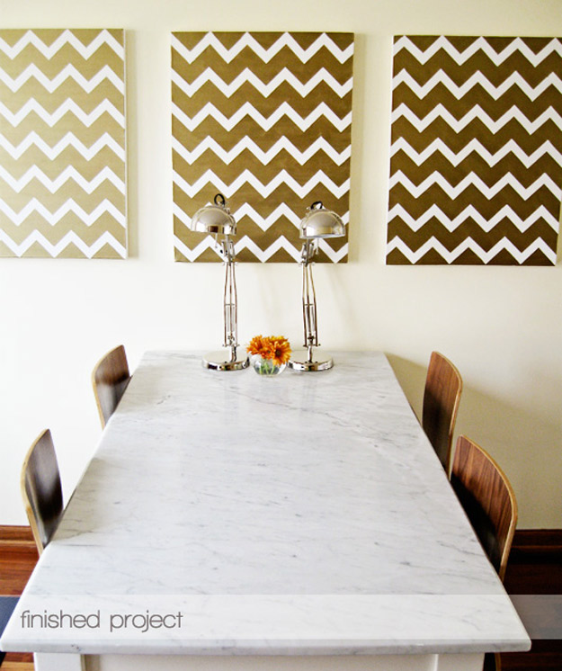 76 Crafts To Make and Sell - Easy DIY Ideas for Cheap Things To Sell on Etsy, Online and for Craft Fairs. Make Money with These Homemade Crafts for Teens, Kids, Christmas, Summer, Mother's Day Gifts.   DIY Gold Chevron Paintings #crafts #diy