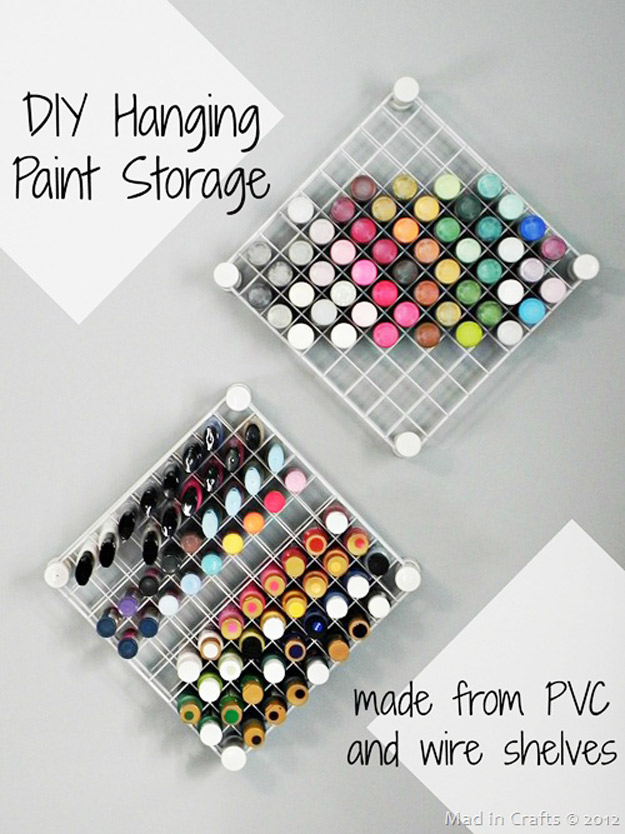 DIY Craft Room Ideas and Craft Room Organization Projects - DIY Hanging Paint Storage - Cool Ideas for Do It Yourself Craft Storage - fabric, paper, pens, creative tools, crafts supplies and sewing notions
