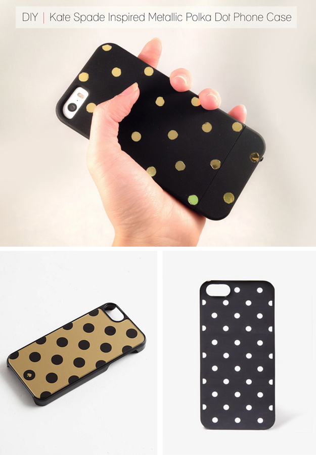 76 Crafts To Make and Sell - Easy DIY Ideas for Cheap Things To Sell on Etsy, Online and for Craft Fairs. Make Money with These Homemade Crafts for Teens, Kids, Christmas, Summer, Mother's Day Gifts. | DIY Kate Spade Inspired Metallic Polka Dot Phone Case #crafts #diy