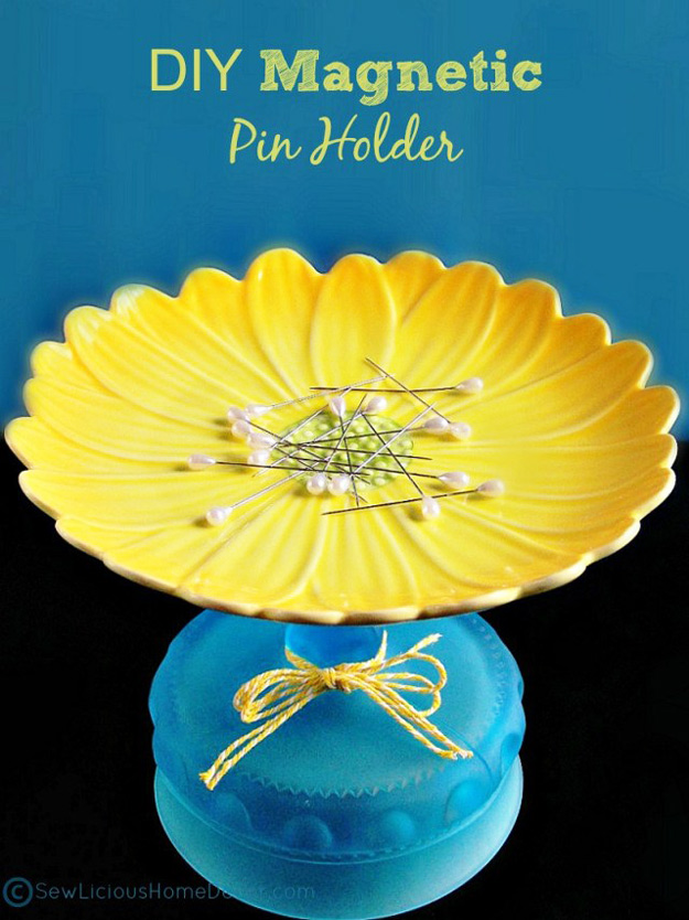 DIY Craft Room Ideas and Craft Room Organization Projects - DIY Magnetic Pin Holder - Cool Ideas for Do It Yourself Craft Storage - fabric, paper, pens, creative tools, crafts supplies and sewing notions | http://diyjoy.com/craft-room-organization