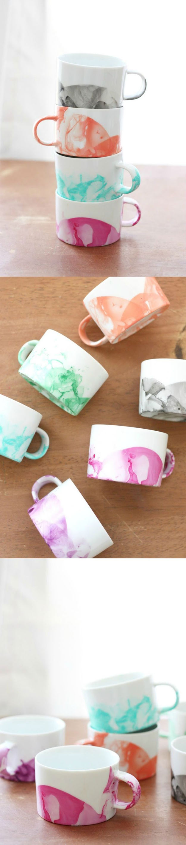 DIY Marbled Mugs With Nail