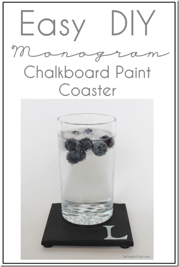 DIY Chalkboard Paint Ideas for Furniture Projects, Home Decor, Kitchen, Bedroom, Signs and Crafts for Teens.   DIY Monogram Chalkboard Paint Coasters   http://diyjoy.com/diy-chalkboard-paint-ideas