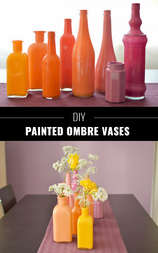76 Crafts To Make and Sell - Easy DIY Ideas for Cheap Things To Sell on Etsy, Online and for Craft Fairs. Make Money with These Homemade Crafts for Teens, Kids, Christmas, Summer, Mother's Day Gifts. | DIY Painted Ombre Vases #crafts #diy