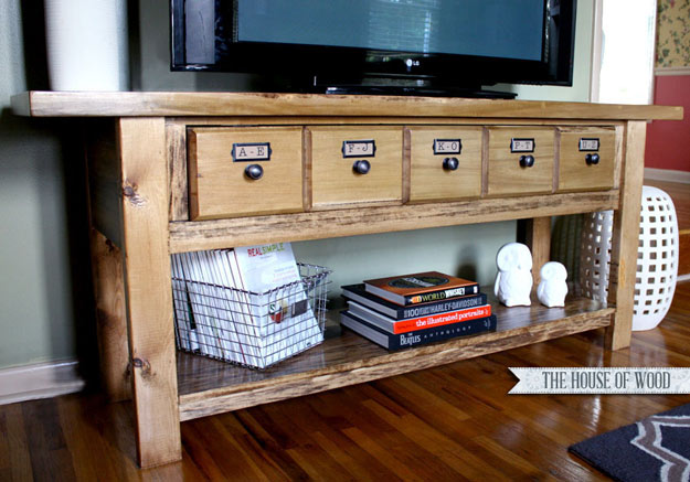 DIY Furniture Store KnockOffs - Do It Yourself Furniture Projects Inspired by Pottery Barn, Restoration Hardware, West Elm. Tutorials and Step by Step Instructions | DIY Pottery Barn-Inspired Media Console #diyfurniture #diyhomedecor #copycats