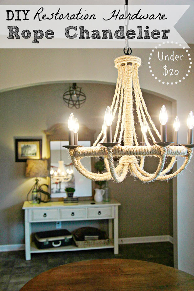 DIY Furniture Store KnockOffs - Do It Yourself Furniture Projects Inspired by Pottery Barn, Restoration Hardware, West Elm. Tutorials and Step by Step Instructions | DIY Restoration Hardware Knock-Off Rope Chandelier #diyfurniture #diyhomedecor #copycats