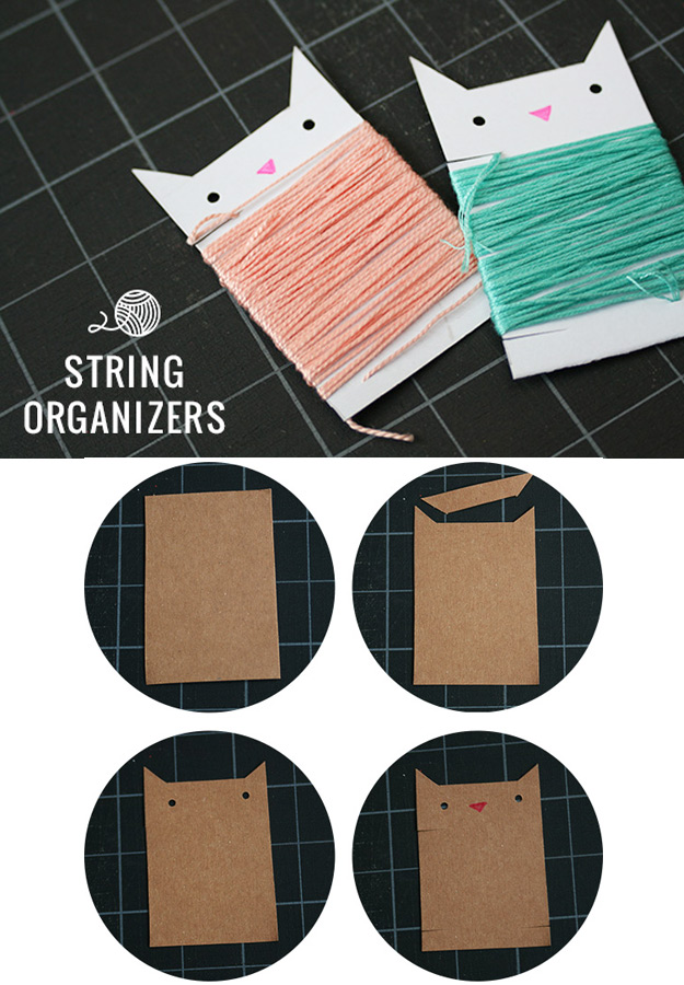 DIY Craft Room Ideas and Craft Room Organization Projects - DIY String Organizers - Cool Ideas for Do It Yourself Craft Storage - fabric, paper, pens, creative tools, crafts supplies and sewing notions