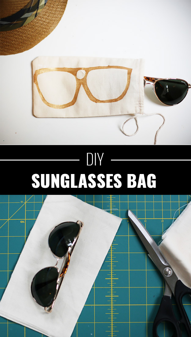 76 Crafts To Make and Sell - Easy DIY Ideas for Cheap Things To Sell on Etsy, Online and for Craft Fairs. Make Money with These Homemade Crafts for Teens, Kids, Christmas, Summer, Mother's Day Gifts.   DIY Sunglasses Bag  
