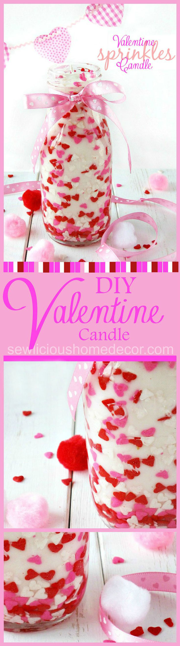 Mason Jar Valentine Gifts and Crafts   DIY Ideas for Valentines Day for Cute Gift Giving and Decor   Valentine Sprinkles Candle Gift   #valentines