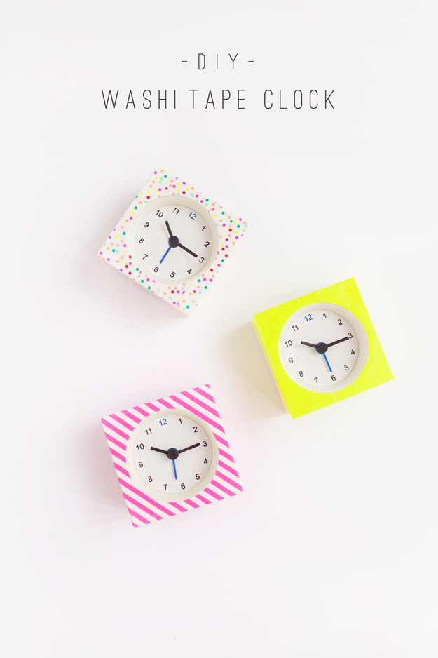76 Crafts To Make and Sell - Easy DIY Ideas for Cheap Things To Sell on Etsy, Online and for Craft Fairs. Make Money with These Homemade Crafts for Teens, Kids, Christmas, Summer, Mother's Day Gifts.   DIY Washi Tape Clock #crafts #diy