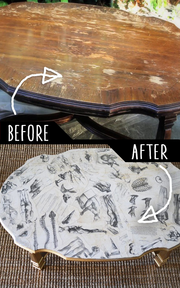 DIY Furniture Makeovers - Refurbished Furniture and Cool Painted Furniture Ideas for Thrift Store Furniture Makeover Projects | Coffee Tables, Dressers and Bedroom Decor, Kitchen | Decoupaged Coffee Table #diy #furnituremakeover #diyfurniture