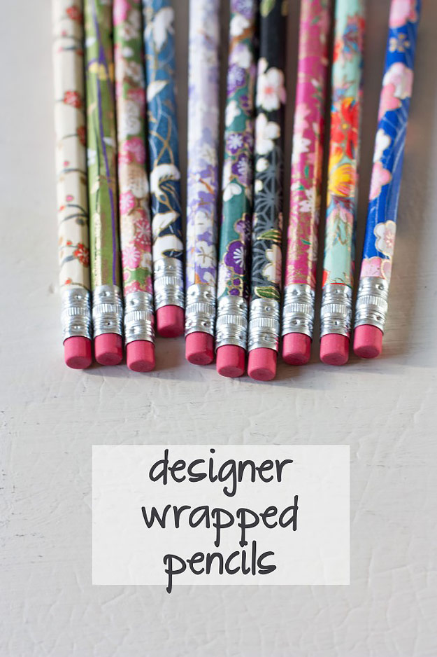 76 Crafts To Make and Sell - Easy DIY Ideas for Cheap Things To Sell on Etsy, Online and for Craft Fairs. Make Money with These Homemade Crafts for Teens, Kids, Christmas, Summer, Mother's Day Gifts.   Designer Wrapped Pencils #crafts #diy