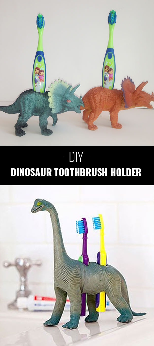 76 Crafts To Make and Sell - Easy DIY Ideas for Cheap Things To Sell on Etsy, Online and for Craft Fairs. Make Money with These Homemade Crafts for Teens, Kids, Christmas, Summer, Mother's Day Gifts.   Dinosaur Toothbrush Holders #crafts #diy