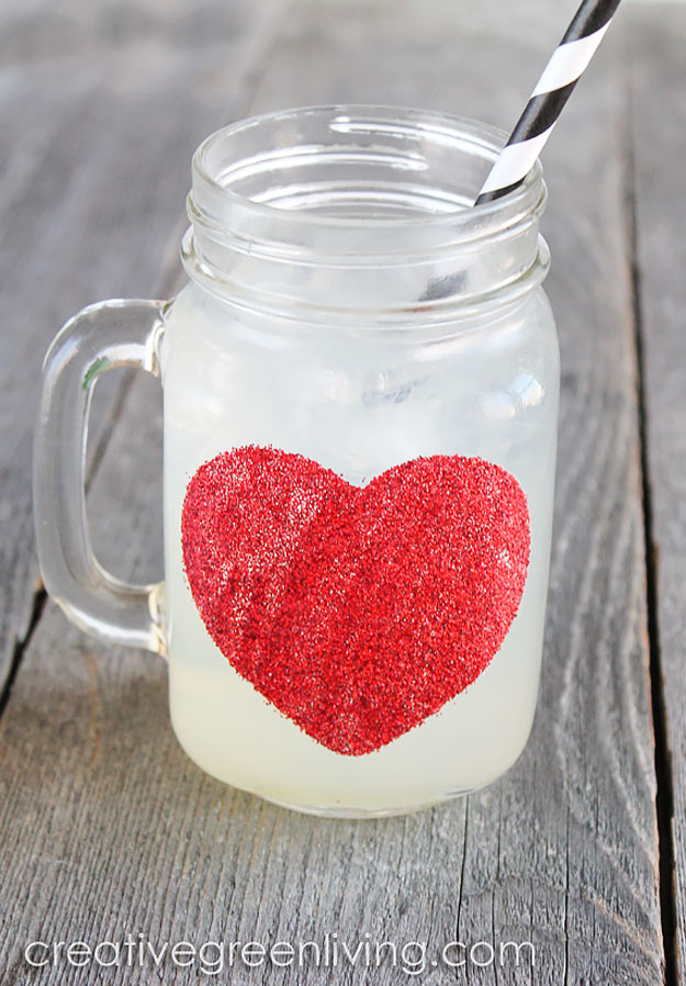 76 Crafts To Make and Sell - Easy DIY Ideas for Cheap Things To Sell on Etsy, Online and for Craft Fairs. Make Money with These Homemade Crafts for Teens, Kids, Christmas, Summer, Mother's Day Gifts. | Dishwasher Safe Glittered Heart Mugs #crafts #diy