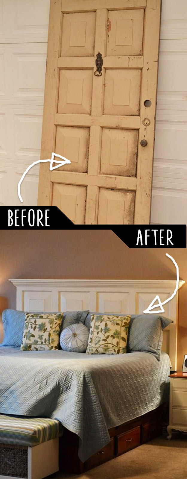 DIY Furniture Hacks   Door Headboard   Cool Ideas for Creative Do It Yourself Furniture Made From Things You Might Not Expect -