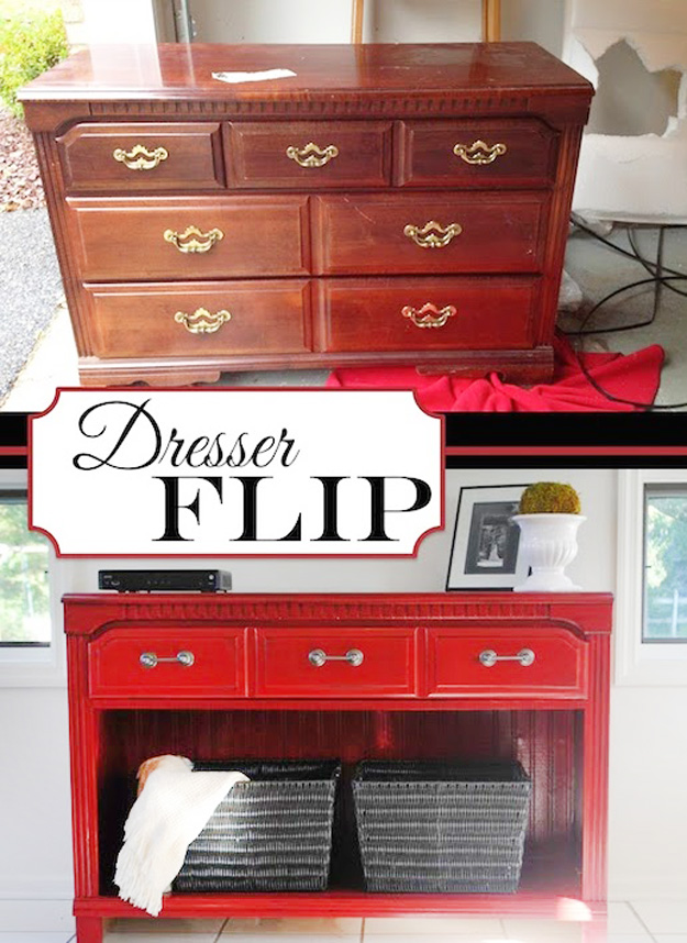 DIY Furniture Hacks   Dresser Flip   Cool Ideas for Creative Do It Yourself Furniture Made From Things You Might Not Expect #diy