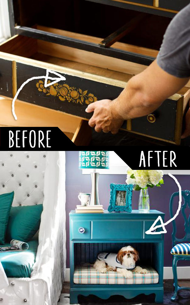 DIY Furniture Hacks   Dresser Into a Pet Bed and Nightstand   Cool Ideas for Creative Do It Yourself Furniture Made From Things You Might Not Expect #diy